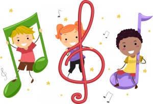 illustration of kids sitting on musical notes