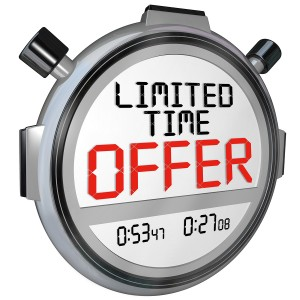The words Limited Time Offer on a stopwatch or timer