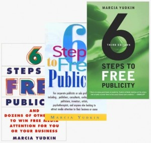 "Three editions of ""Six Steps to Free Publicity"""