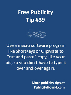 Free Publicity Tip 39--Use a Macro Key Program