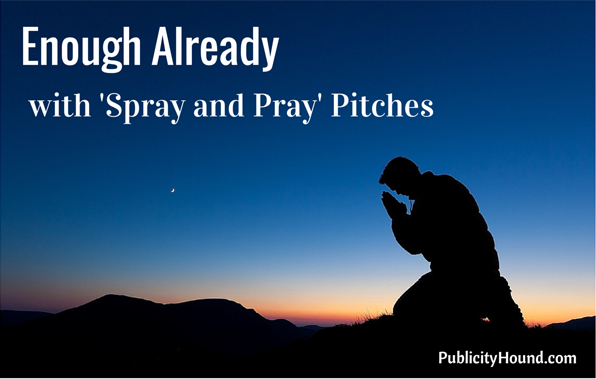 """Man praying against a blue night sky with the words """"Enough Already with 'Spray and Pray' Pitches"""