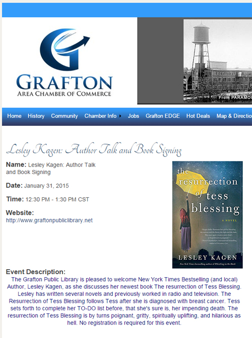 Grafton Chamber of Commerce promo for Lesley Kagen book signing