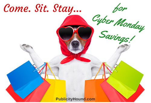 Dog with shopping bags on Cyber Monday