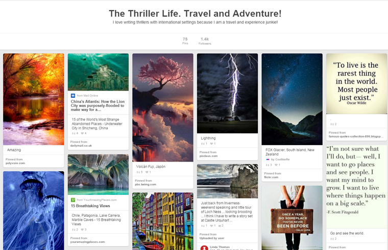 Joanna Penn's The Thriller Life Pinterest Board
