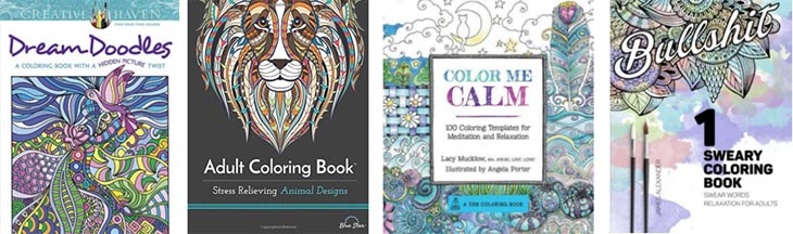 4 examples of covers from adult coloring books